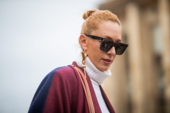 PARIS, FRANCE - JANUARY 23: Elina Halimi is seen wearing Louis Vuitton earring outside Elie Saab during Paris Fashion Week - Haute Couture Spring Summer 2019 on January 23, 2019 in Paris, France. (Photo by Christian Vierig/Getty Images)
